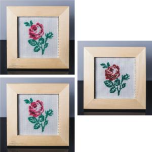 Ansamblu de tablouri cu trandafiri (rosu si roz) – cusut manual